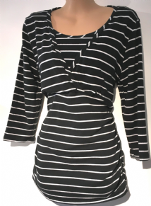 BLOOMING MARVELLOUS MATERNITY BLACK STRIPE 3/4 SLEEVE TUNIC TOP SIZE M 12
